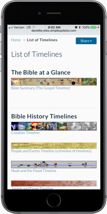 The list of timelines page.